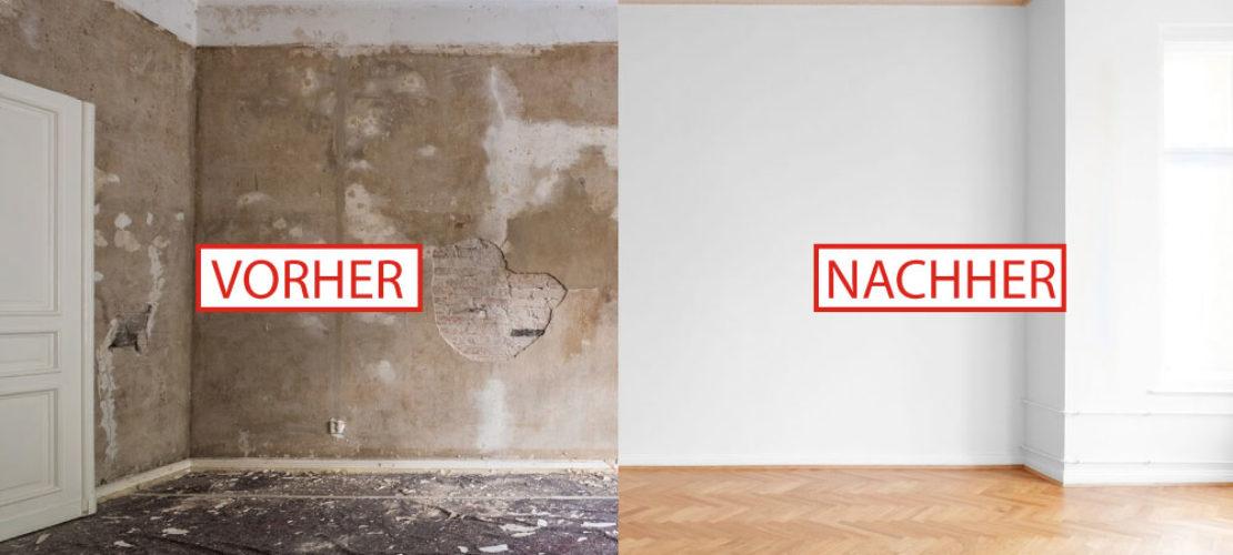 Renovierung einer Wohnung vorher nachher mit Boden und Deckengestaltung