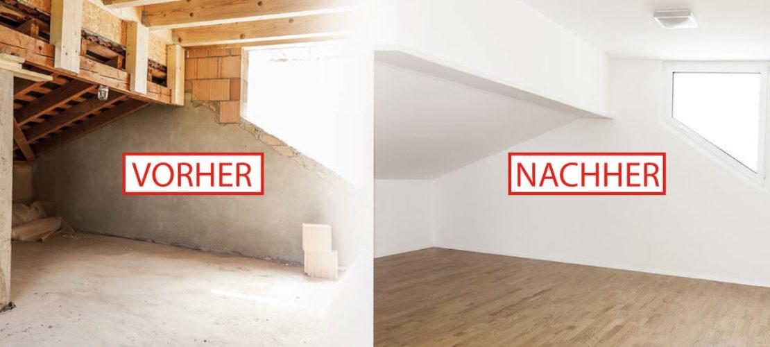 Renovierung einer Wohnung vorher nachher mit Isolierung