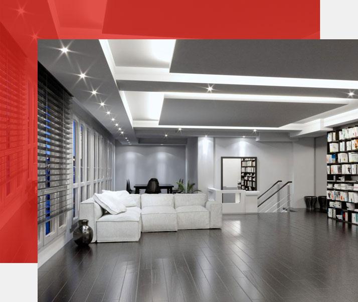 Raumgestaltung mit Deckenbeleuchtung