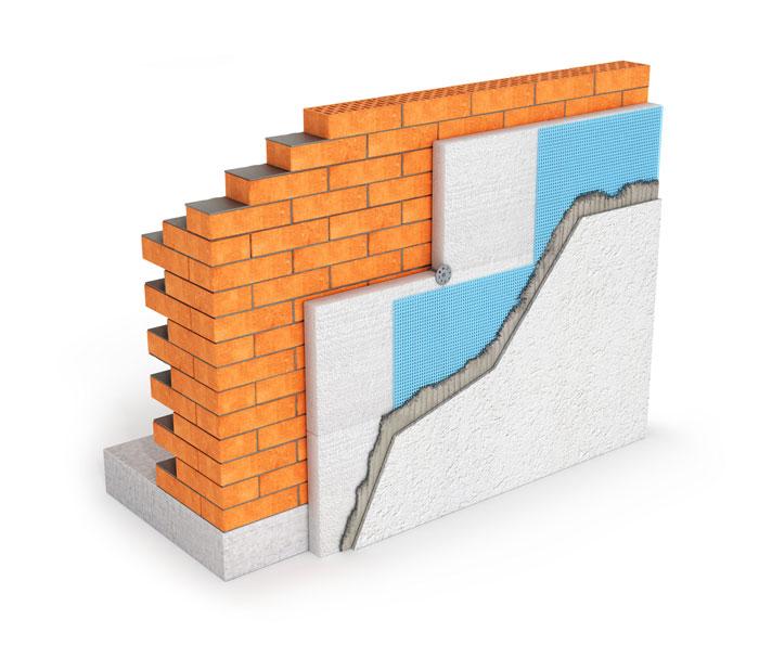 Mauer mit Trockenbau Schichten